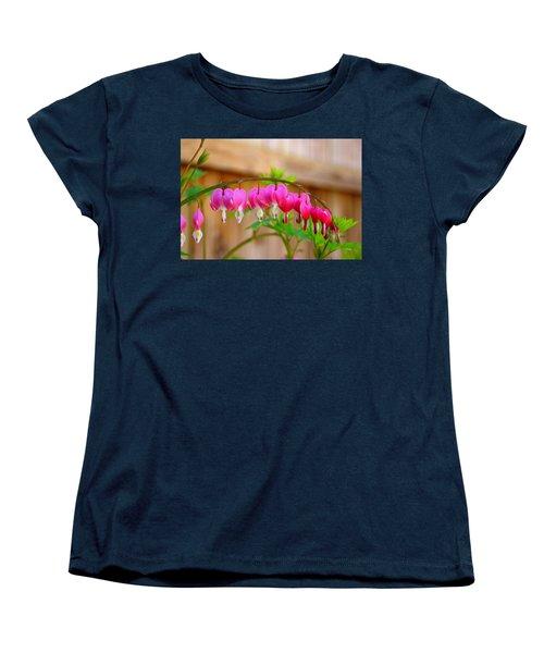 Women's T-Shirt (Standard Cut) featuring the photograph Graceful Arch Of Bleeding Heart by Patti Whitten