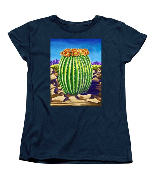 Women's T-Shirt (Standard Cut) featuring the painting Blooming Barrel Cactus by Tim Gilliland