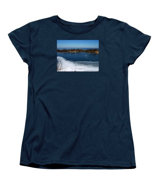 Blue And White Women's T-Shirt (Standard Cut) by Catherine Gagne
