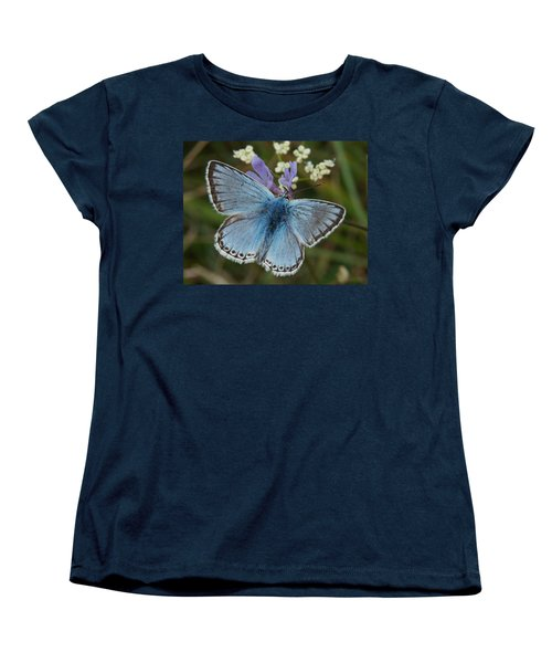 Blue Butterfly Women's T-Shirt (Standard Cut) by Ron Harpham
