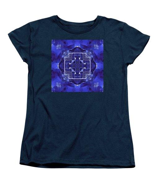 Women's T-Shirt (Standard Cut) featuring the digital art Blue Cross Radiance by David Mckinney