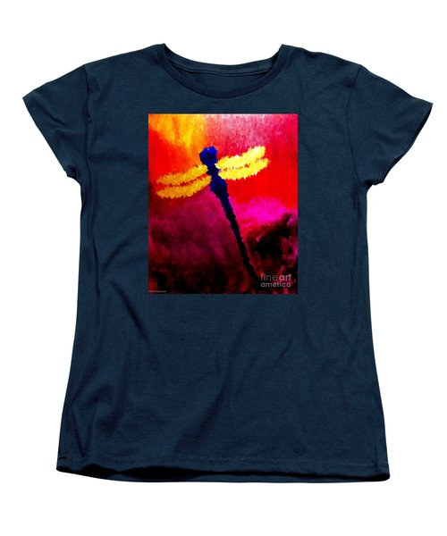 Women's T-Shirt (Standard Cut) featuring the painting Blue Dragonfly No 2 by Anita Lewis