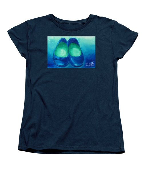 Women's T-Shirt (Standard Cut) featuring the painting Blue Flats by Marisela Mungia