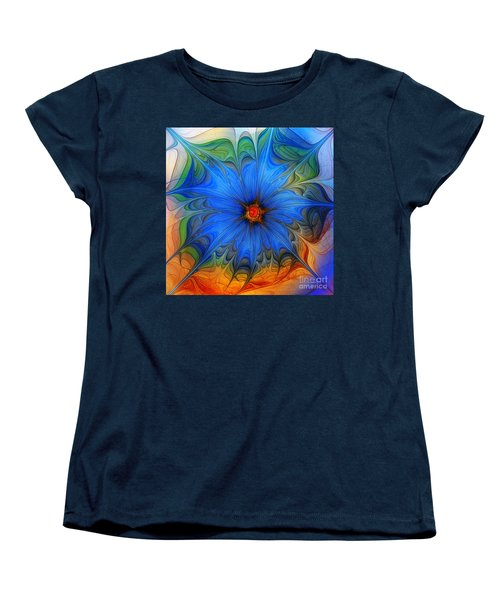 Blue Flower Dressed For Summer Women's T-Shirt (Standard Cut) by Karin Kuhlmann