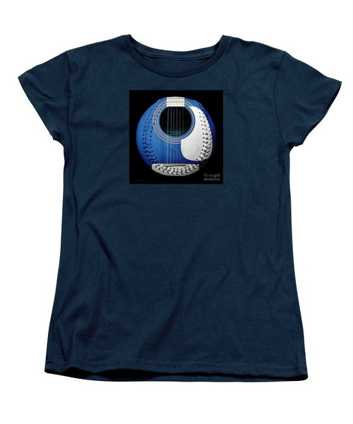 Blue Guitar Baseball White Laces Square Women's T-Shirt (Standard Cut) by Andee Design