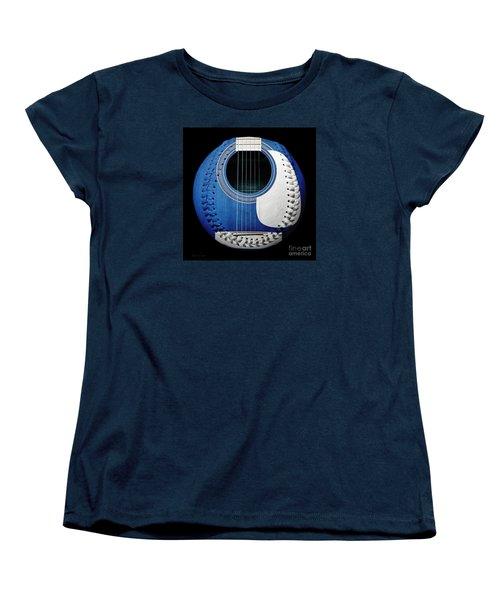 Blue Guitar Baseball White Laces Square Women's T-Shirt (Standard Cut)