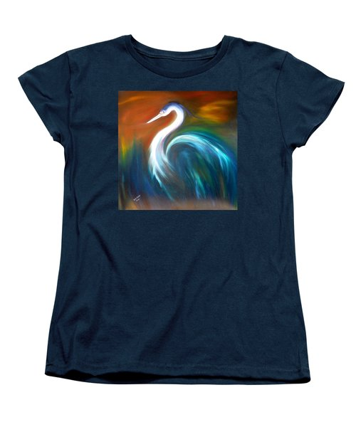 Women's T-Shirt (Standard Cut) featuring the painting Blue Heron by Dorothy Maier