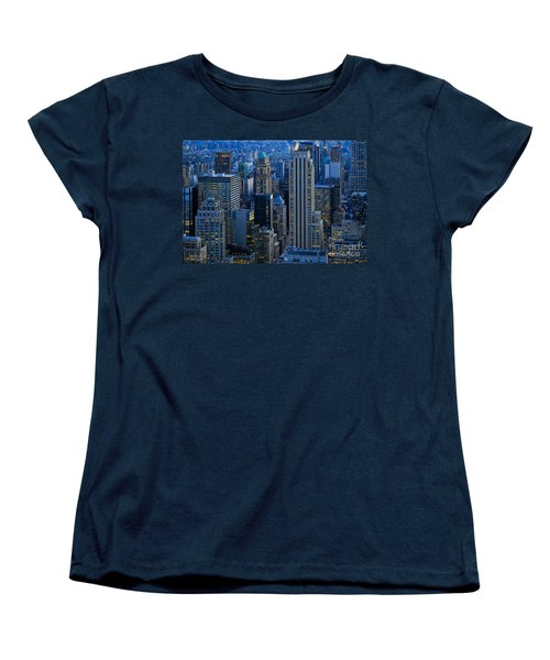 Blue Hour In New York City Usa Women's T-Shirt (Standard Cut) by Sabine Jacobs