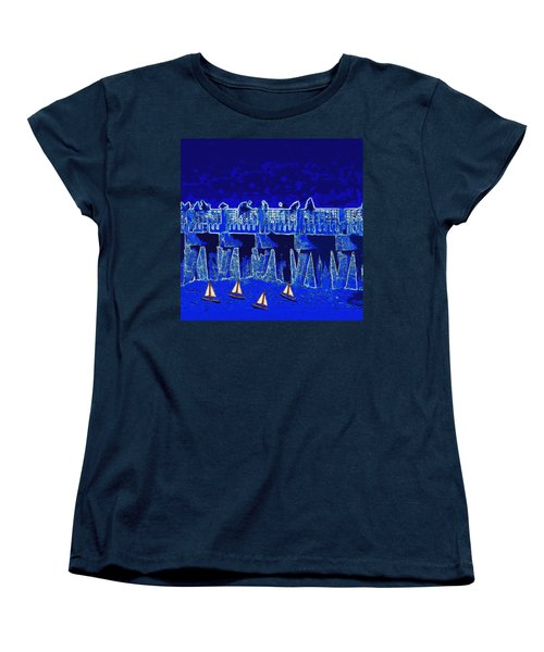 Blue II Toy Sailboats In Lake Worth Women's T-Shirt (Standard Cut) by David Mckinney