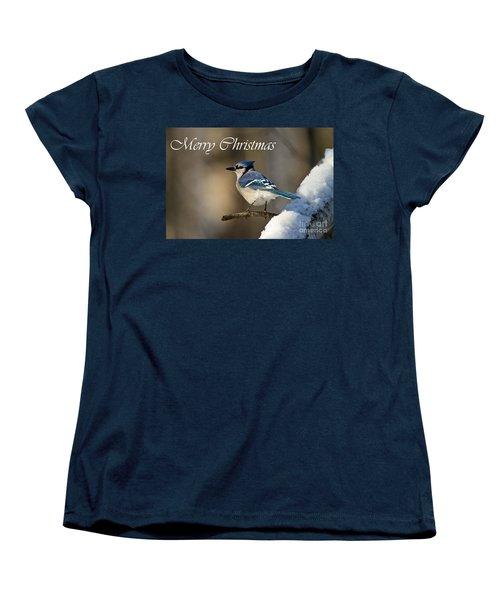 Blue Jay Christmas Card 2 Women's T-Shirt (Standard Cut) by Michael Cummings