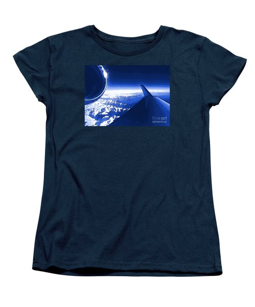 Blue Jet Pop Art Plane Women's T-Shirt (Standard Cut) by R Muirhead Art