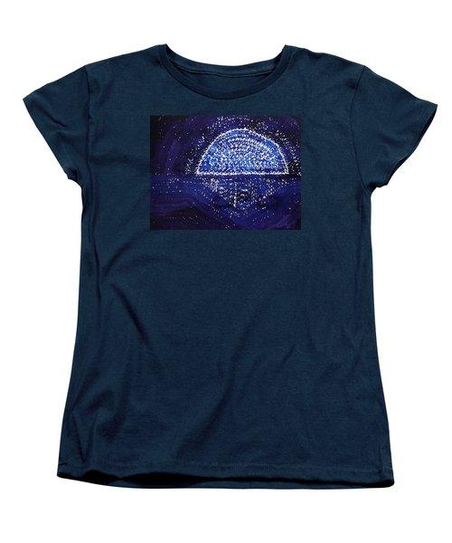 Blue Moonrise Original Painting Women's T-Shirt (Standard Cut) by Sol Luckman