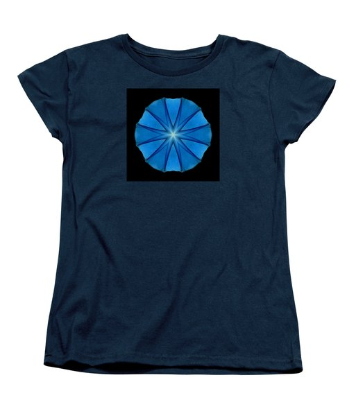 Blue Morning Glory Flower Mandala Women's T-Shirt (Standard Cut) by David J Bookbinder
