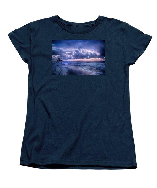 Women's T-Shirt (Standard Cut) featuring the digital art Blue Orange Beach by Michael Thomas