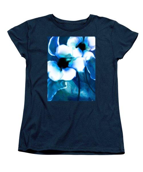 Women's T-Shirt (Standard Cut) featuring the digital art Blue Orchids  by Frank Bright