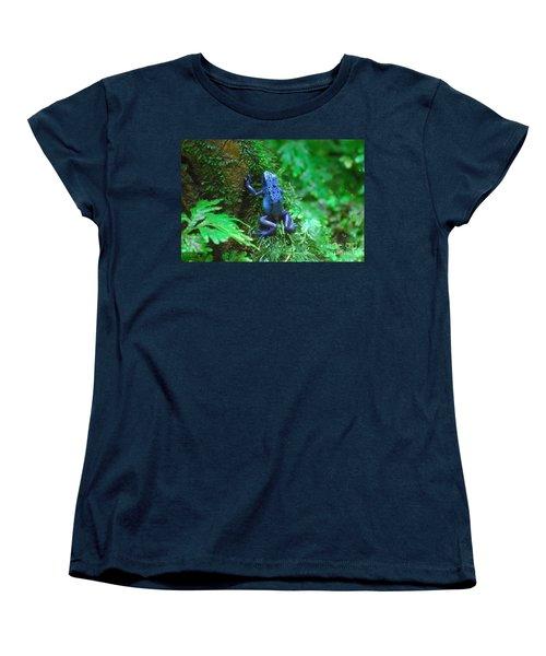 Blue Poison Dart Frog Women's T-Shirt (Standard Cut) by DejaVu Designs
