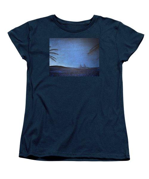 Women's T-Shirt (Standard Cut) featuring the drawing Blue Pyramid by Mayhem Mediums
