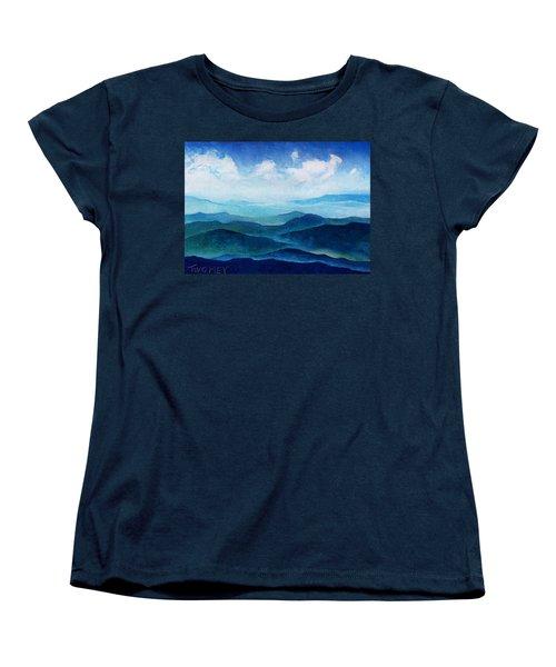 Blue Ridge Blue Skyline Sheep Cloud Women's T-Shirt (Standard Cut) by Catherine Twomey