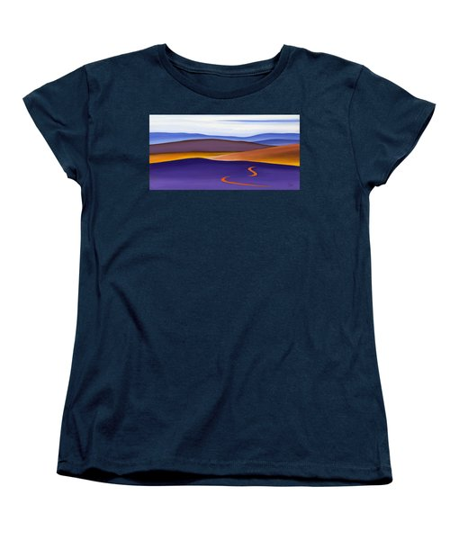 Blue Ridge Orange Mountains Sky And Road In Fall Women's T-Shirt (Standard Cut) by Catherine Twomey