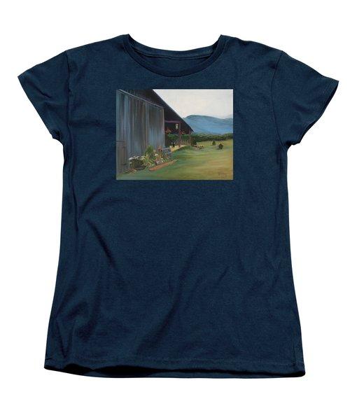 Women's T-Shirt (Standard Cut) featuring the painting Blue Ridge Vineyard by Donna Tuten