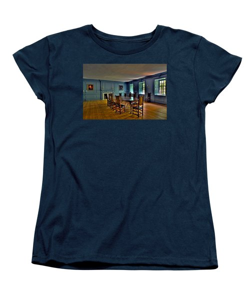 Women's T-Shirt (Standard Cut) featuring the photograph Blue Room Wren Building by Jerry Gammon