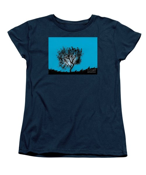 Women's T-Shirt (Standard Cut) featuring the drawing Blue Sky Moon by D Hackett