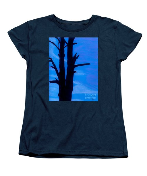 Women's T-Shirt (Standard Cut) featuring the drawing Blue Sky Tree by D Hackett