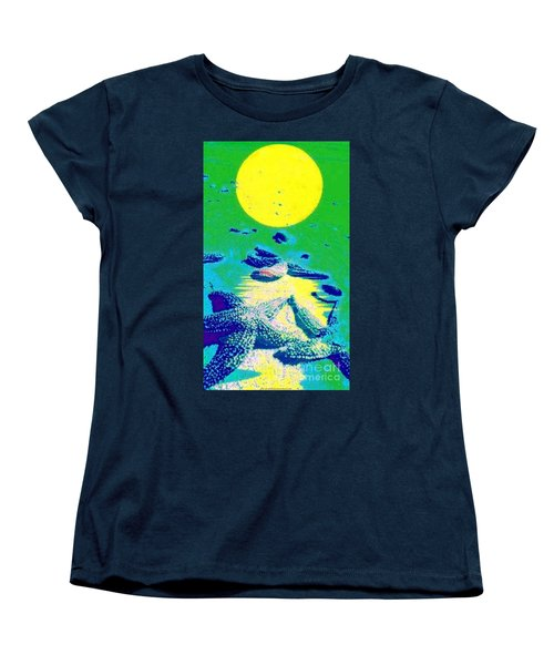 Women's T-Shirt (Standard Cut) featuring the painting Blue Starfish Yellow Moon by PainterArtist FIN