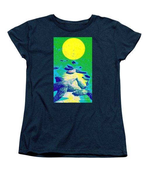 Blue Starfish Yellow Moon Women's T-Shirt (Standard Cut)