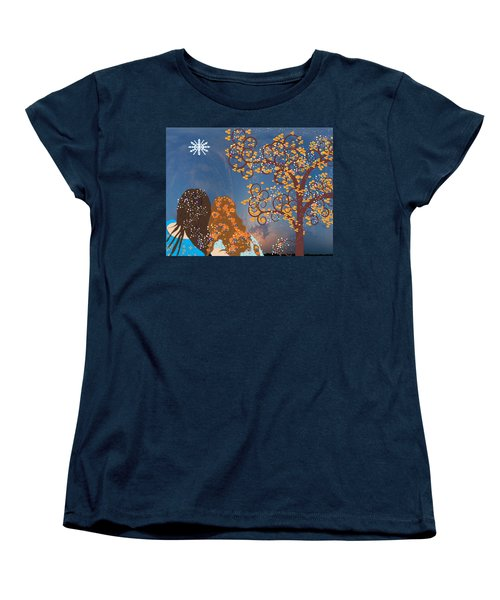 Women's T-Shirt (Standard Cut) featuring the digital art Blue Swirl Girls 2 by Kim Prowse