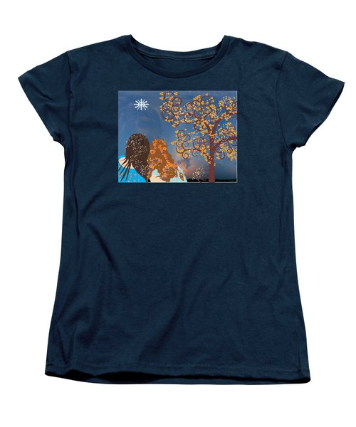 Blue Swirl Girls Women's T-Shirt (Standard Cut) by Kim Prowse