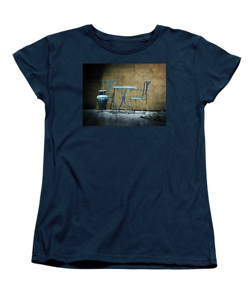 Women's T-Shirt (Standard Cut) featuring the photograph Blue Table And Chairs by Lucinda Walter