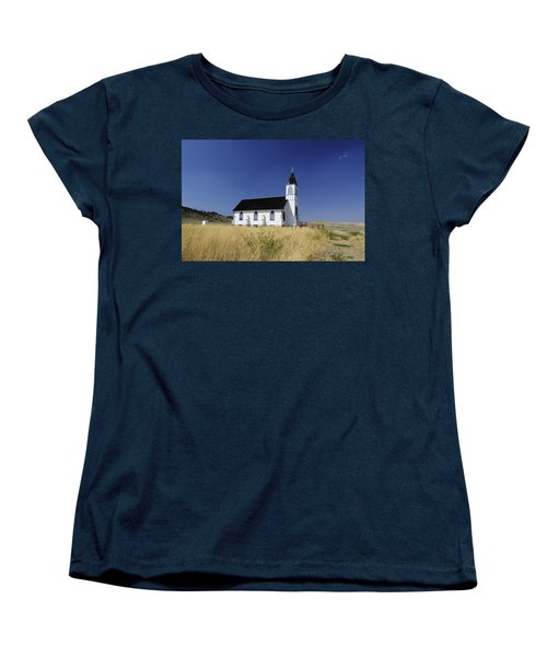 Women's T-Shirt (Standard Cut) featuring the photograph Blue Trim Church by Fran Riley