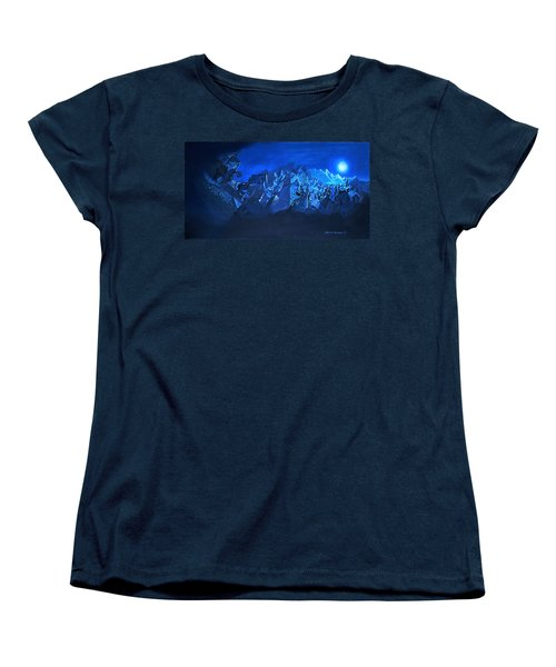 Women's T-Shirt (Standard Cut) featuring the painting Blue Village by Joseph Hawkins