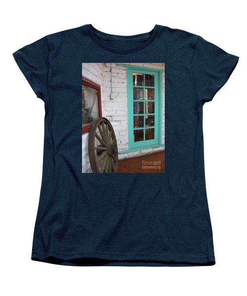 Women's T-Shirt (Standard Cut) featuring the photograph Blue Window And Wagon Wheel by Dora Sofia Caputo Photographic Art and Design