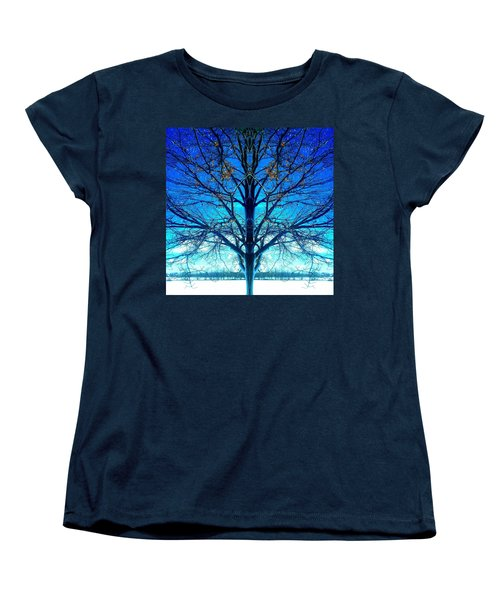 Blue Winter Tree Women's T-Shirt (Standard Cut) by Marianne Dow