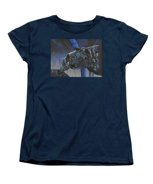 Blue Wolves With Stars Women's T-Shirt (Standard Cut) by Mayhem Mediums