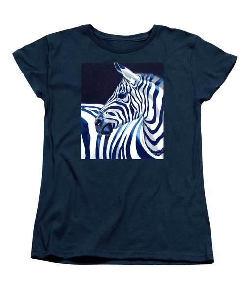 Women's T-Shirt (Standard Cut) featuring the painting Blue Zebra by Alison Caltrider