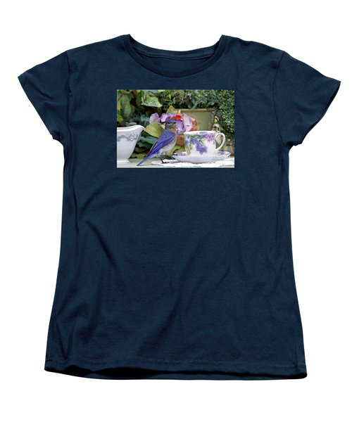 Bluebird And Tea Cups Women's T-Shirt (Standard Cut) by Luana K Perez