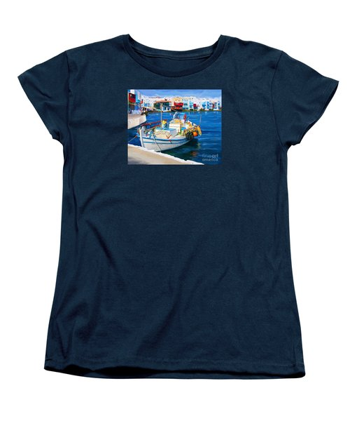 Women's T-Shirt (Standard Cut) featuring the painting Boat In Greece by Tim Gilliland