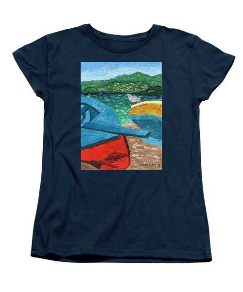 Women's T-Shirt (Standard Cut) featuring the painting Boats And Bird At Rest by Laura Forde
