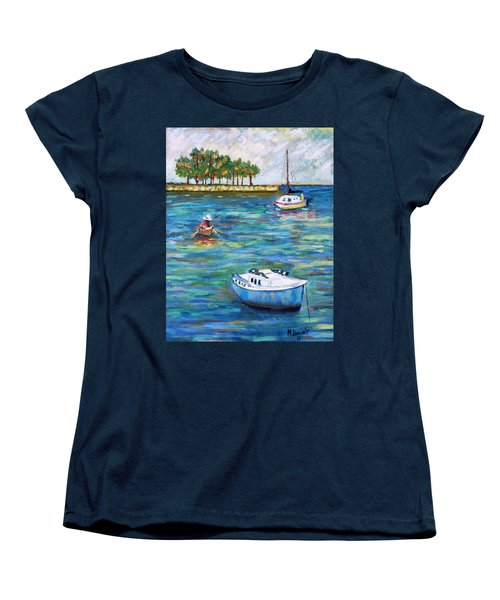 Women's T-Shirt (Standard Cut) featuring the painting Boats At St Petersburg by Michael Daniels