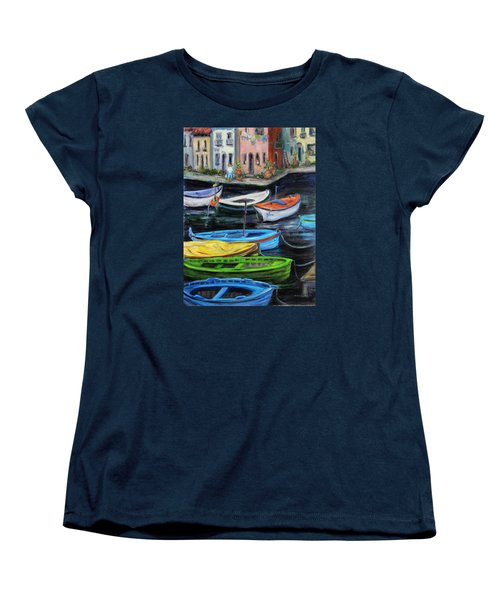 Women's T-Shirt (Standard Cut) featuring the painting Boats In Front Of The Buildings II by Xueling Zou