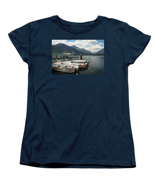 Boats On Lake Mcdonald Women's T-Shirt (Standard Cut) by Nina Prommer