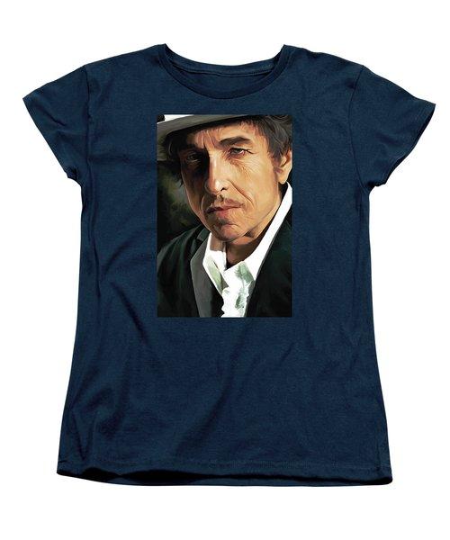Bob Dylan Artwork Women's T-Shirt (Standard Cut) by Sheraz A