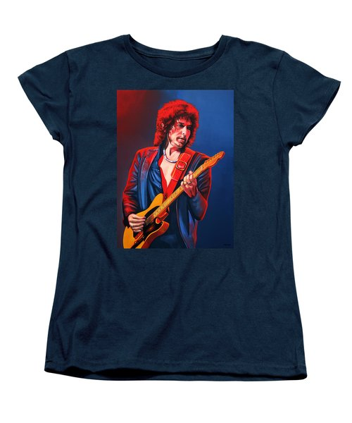 Bob Dylan Painting Women's T-Shirt (Standard Cut) by Paul Meijering