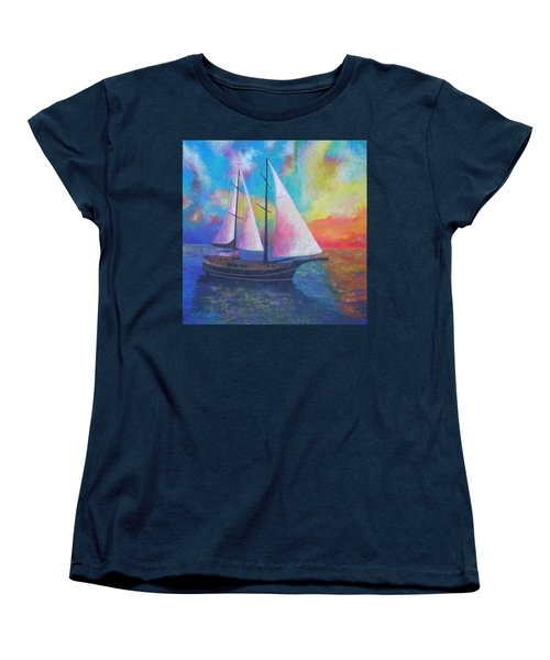 Women's T-Shirt (Standard Cut) featuring the painting Bodrum Gulet Cruise by Tracey Harrington-Simpson