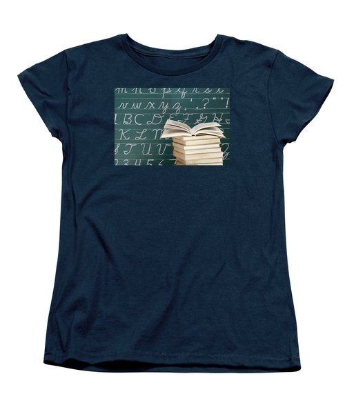Books And Chalkboard Women's T-Shirt (Standard Cut)
