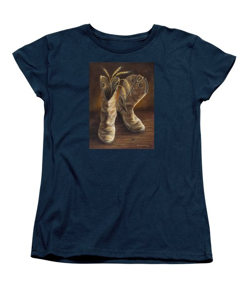 Women's T-Shirt (Standard Cut) featuring the painting Boots And Wheat by Kim Lockman