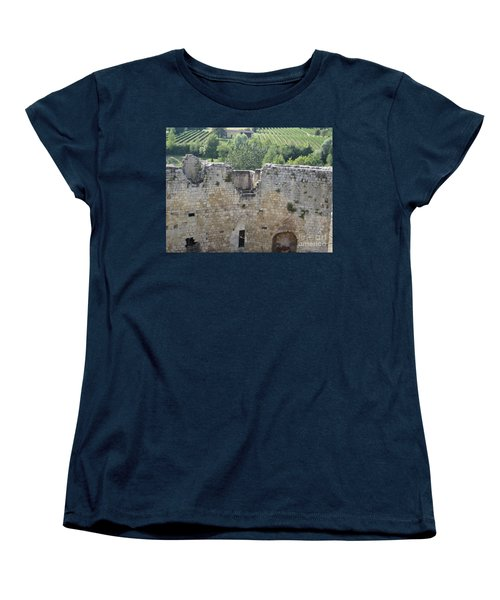 Women's T-Shirt (Standard Cut) featuring the photograph Bordeaux Castle Ruins With Vineyard by HEVi FineArt